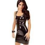 Women's Synthetic Leather Sundress Mini Dress black silver gold