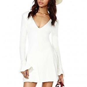 Women's V-neck in Sweet And Vintage Style Elegant Dress white