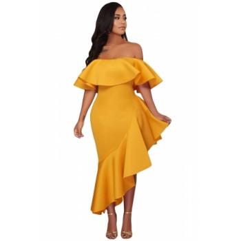 Yellow Asymmetric Ruffle Off Shoulder Party Dress