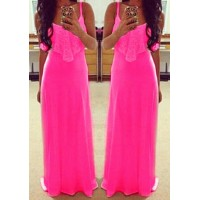 Alluring Spaghetti Strap Sleeveless Spliced Solid Color Dress For Women rose