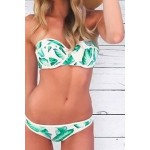 Alluring Strapless Sleeveless Printed Bikini Set For Women blue green