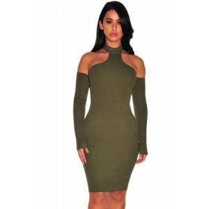 Army Green Knit Ribbed Choker Off Shoulder Dress Black Pink