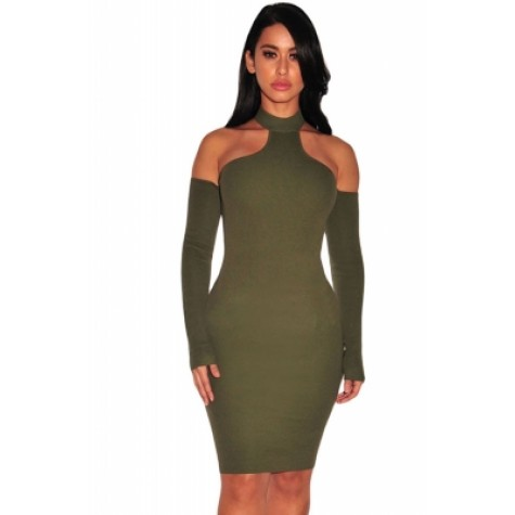 ca0749a5f932 Army Green Knit Ribbed Choker Off Shoulder Dress Black Pink (Army ...