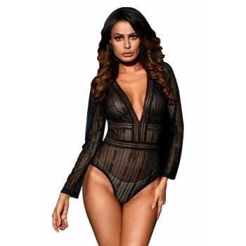 Black Deep V Neck Long Sleeve Bodysuit with Open Back