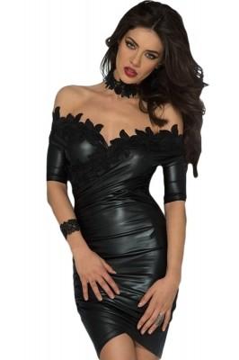 Black Embroidered Off Shoulder Cocktail Dress