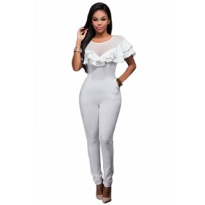 Black Mesh Insert Double Ruffle Jumpsuit white