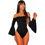 Black Off Shoulder Bell Sleeves Bodysuit