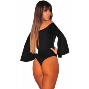 Black Off Shoulder Bell Sleeves Bodysuit