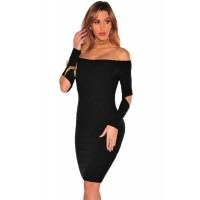Black Ribbed Knit Off Shoulder Cut Out Long Sleeves Dress