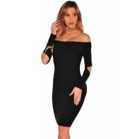 Black Ribbed Knit Off Shoulder Cut Out Long Sleeves Dress