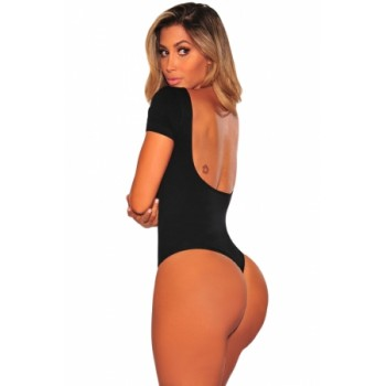 Black Seamless Perfect Fit Low Back Bodysuit