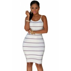 Black Stripes Open Back Bodycon Dress white navy black gray