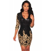 Black Victorian Gold Sequins 3/4 Sleeves Bodycon Dress Silver