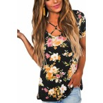 Blue Floral Print Crisscross V Neck Casual Shirt Pink Grey Black