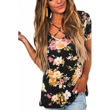 Blue Floral Print Crisscross V Neck Casual Shirt Pink Grey Black