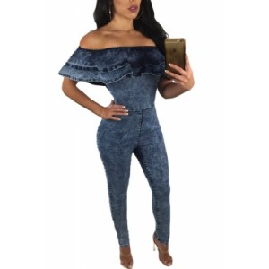 Blue Ruffle Off Shoulder Denim Jumpsuit