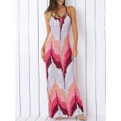 Bohemian Spaghetti Strap Color Block Print Maxi Dress