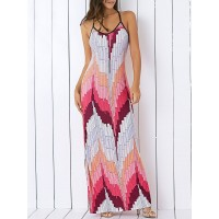 Bohemian Spaghetti Strap Color Block Print Maxi Dress
