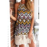 Bohemian Women's Halter Floral Print Fringe Splicing Sleeveless Dress