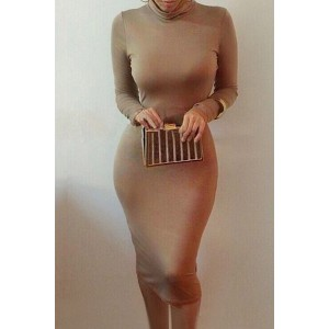 Brief Turtle Neck Long Sleeve Solid Color Bodycon Dress For Women coffee black red