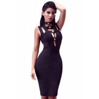 Button Embellish Cut out Bandage Little Black Dress