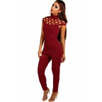 Cage Top Skinny Fit Jumpsuit Black Plum