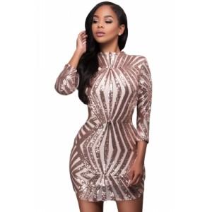 Champagne Sequin Detail Open Back Party Mini Dress