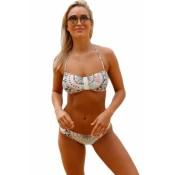 Chic Bohemian Print Halter Bandeau Bikini Set