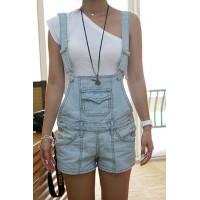 Cute Women's Bleach Wash Loose Denim Overalls blue