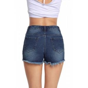 Dark Blue Faded Destroyed Denim Mini Shorts