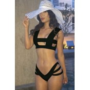Designer Hollow-out Low Rise Black Bikini