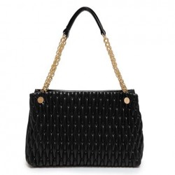 Elegant Women's Shoulder Bag With Embossing and Chain Design black pink purple white