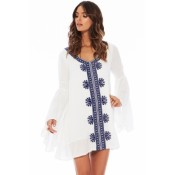 Embroidered White Bell Sleeve Cover-up