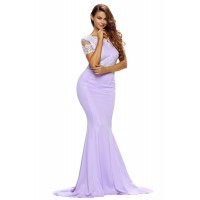 Eyelash Lace Embellished Violet Sain Formal Gown
