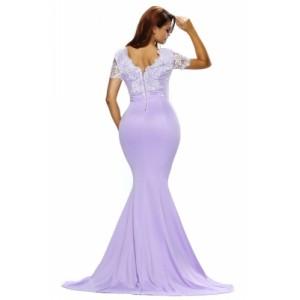 Eyelash Lace Embellished Violet Sain Formal Gown