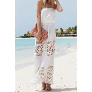 Fashionable Strapless Openwork Floral Pattern Sleeveless Maxi Dress For Women white