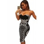 Floral Bandeau Crop Top Bodycon Midi Skirt 2pcs Bandage Dress