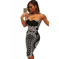 Floral Bandeau Crop Top Bodycon Midi Skirt 2pcs Bandage Dress