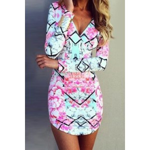 Floral Print Bodycon Sexy Plunging Neck Long Sleeve Dress For Women