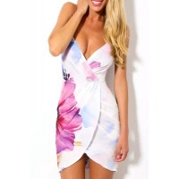 Floral Print Sexy Style Spaghetti Strap Dress For Women white