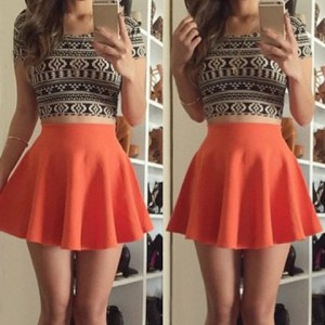 Floral Print Stylish Scoop Neck Short Sleeve T-Shirt + High-Waisted Skirt Twinset For Women orange