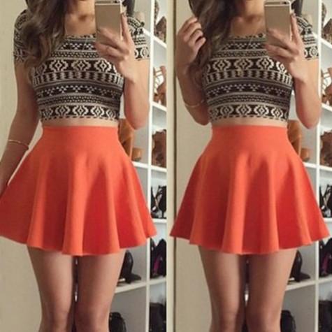 c92229f5b6140 Floral Print Stylish Scoop Neck Short Sleeve T-Shirt + High-Waisted Skirt  Twinset For Women orange