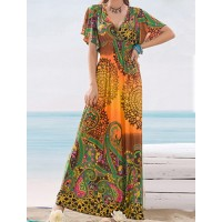 Floral Print V-Neck Short Sleeves Bohemian Maxi Dress For Women