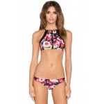 Floral Zipper High Neck Bikini Set