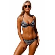 Geometric Pattern Padded Cups Bikini Bathing Suit
