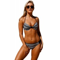 Geometric Pattern Padded Cups Bikini Bathing Suit