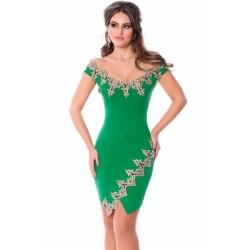 Gold Lace Applique Green Off Shoulder Mini Dress