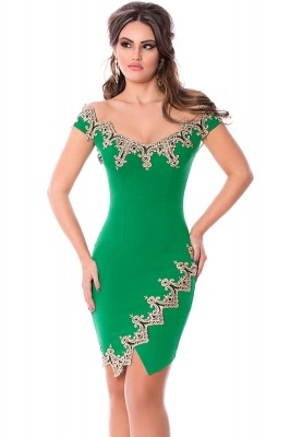 Gold Lace Applique Green Off Shoulder Mini Dress