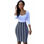 Half Sleeve O Neck Black White Stripe Skirt Patchwork Bodycon Dress