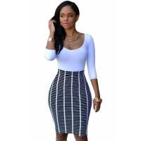 Half Sleeve O Neck Black White Stripe Skirt Patchwork Bodycon Dress